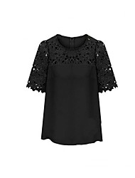 Women's Cut Out Lace Splicing Short Sleeve Blouse