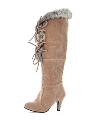 Women's Shoes Faux Fur Fall / Winter Pointed Toe / Fashion Boots Dress Chunky Heel Lace-up Black / Beige