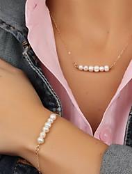 Ensemble de bijoux Perle Imitation de perle Alliage Mode Or Set de Bijoux Soirée Occasion spéciale Anniversaire Quotidien Décontracté