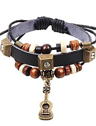 Unisex's Guitar Vintage Beads Leather Braided Bracelets