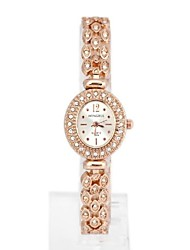 Women's Oval-Shaped Diamond Metal Quartz Analog Bracelet Watch (1Pc)