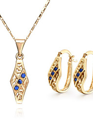 Fanccy Rhinestone Diamonade Earrings Necklace SetS022 Screen Color(Necklace:45CM)
