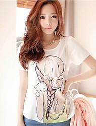 adorable jeune fille tresse impression diamant t-shirt à manches courtes des femmes sw