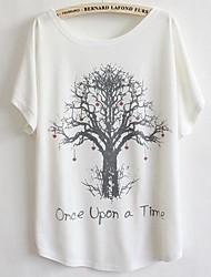 Damen Druck Einfach Lässig/Alltäglich T-shirt Sommer Kurzarm Weiß Dünn