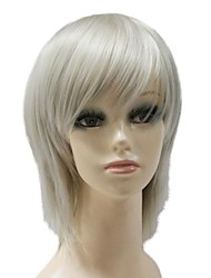 Top Grade Synthetic Capless Short Dark Grey Straight Synthetic Full Wig