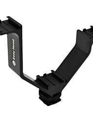 Easy Hood YZJ 12.5CM Triple Mount Hot Shoe V Bracket Mount for Video Lights  Microphones or Monitors -Black