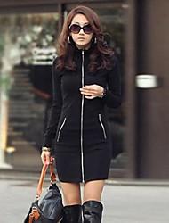 vestido ocasional de las mujeres camisas de manga larga cuello de la chaqueta dos tipo cremallera recta