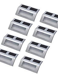 8pcs 3 LED Solar Powered Paso Escalera de luz de lámpara Camino montado en la pared de acero inoxidable Escaleras