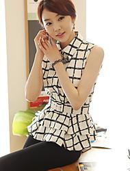 Hanyiou Shirt Collar Plaid Pattern Shirt