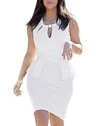Gola redonda Womens Sexy Low-cut Negócios Lápis Bodycon Vestido