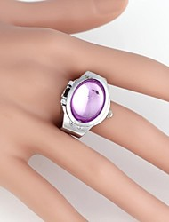 Women's Fish Eye  Pattern Oval Metal Analog Ring Watch (1Pc)