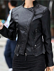 YINBO Fashion Black Fitted Leather Jacket