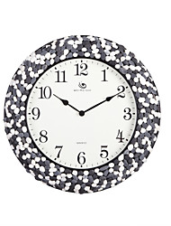 """18.4""""H Contemporary Style Small Stone Pattern Round Wall Clock"""