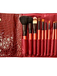 10PCS High-grade Wool  Makeup Brushes Cosmetic Eyebrow Lip Eyeshadow Brushes Set with Case