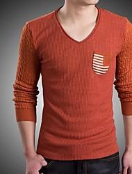 Herren T-shirt-Gestreift Freizeit / Büro Baumwolle / Wollmischung Lang-Blau / Rot
