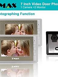 """tmax® 7 """"lcd fotografar vídeo porteiro com 500tvl câmera de visão noturna (1Camera para 2monitors)"""