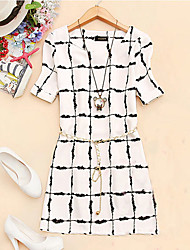 COCO ZHANG Women's Round Neck Geometric Print Short Sleeve Dress