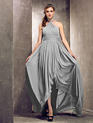 Asymmetrical Chiffon Bridesmaid Dress - Silver Plus Sizes Sheath/Column Halter