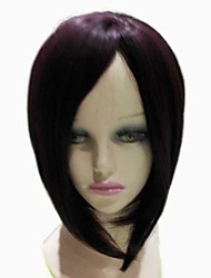 Capless Synthetic Short Straight  Dark Purple Bob Hair Cuts Synthetic Hair Full Wig