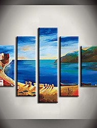 Hand Painted Oil Painting Blue Ocean Beach Landscape Paintings with Stretched Frame Set of 5