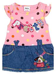 niños redondas lunares falda vaquera linda chica cuello verano imprimen chica manga corta de impresión azar vestido