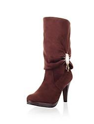 Zapatos de mujer - Tacón Stiletto - Punta Redonda / Botas a la Moda - Botas - Vestido - Cuero Sintético - Negro / Marrón / Gris