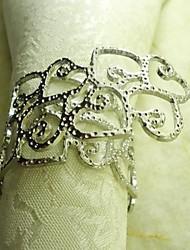Metal Heart Rond de Serviette, métal, 3,5 cm, lot de 12