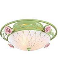 Flush Mount Light Glass Art Hierro Cerámica Roses Rural Country Style