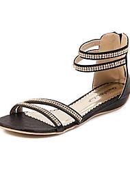 Talon plat de femmes spartiates avec strass et Zipper Chaussures (plus de couleurs)