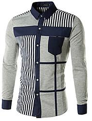 Contraste Jogal Plaza 3D estilo coreano color de las rayas de manga larga Silm Shirts