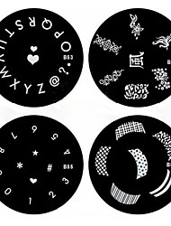 1PCS Nail Art Stamp Stamping Image Template Plate B Series NO.53-56(Assorted Pattern)