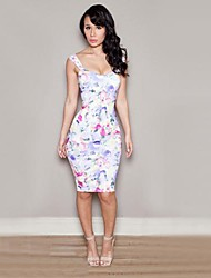 Women's Multi-color Dress , Sexy Sleeveless