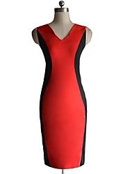 Frauen Sexy Hip-Paket Stitching Schlank Offener Kragen Kleid