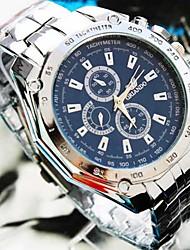 Herren Armbanduhr Quartz Legierung Band Silber Weiß Schwarz Blau