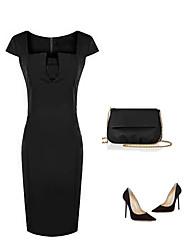 LiShang Solid Color Vintage Slim Short Sleeve Ol Dress
