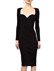 Scollo a V da Mingfan sexy delle donne di colore solido del cotone OL Professione aderente Midi Dress