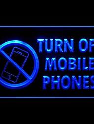 éteindre les téléphones mobiles enseigne publicitaire lumineuse menée