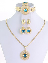 WesternRain Women's vintage-inspired Gold-plated  Rhinestone Jewelry Set