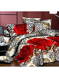 Ailianna 4 Piece 3D Print Leopard Duvet Set