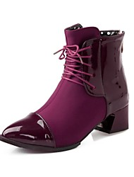 Women's Spring Fall Winter Fashion Boots Patent Leather Dress Chunky Heel Zipper Lace-up Black Blue Brown Purple Red