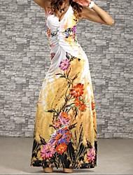 Women's Plus Size Print Flower Beach Maxi Dress