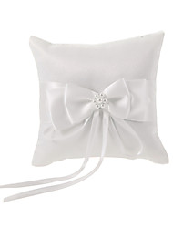 Ivory Ring Pillow In White Bowknot Satin With Faux Pearl