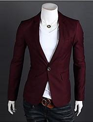 Tailleur de collier des hommes Casual manches longues Un grain de boucle Suit