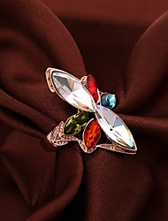 Senlan Women's Elegant Colorful Crystal Flower Ring