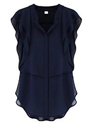 Sheinside® Women's Navy V Neck Ruffles Sleeve Chiffon Blouse
