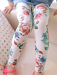 Girl's All Match Trousers with Floral Prints Stretchy Tight Leggings