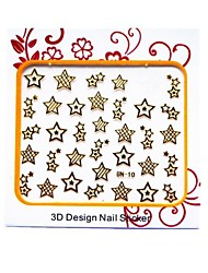 Most Popular 3D Metal Nail Stickers Decoration With Stars Pattern