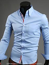 Tizeland Men's Lapel Neck Solid Color Long Sleeve Shirt