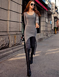 BOYINI Light Gray Fashion Long Sleeve Fitted Dress