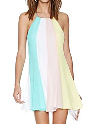 Women's Holiday Dress,Rainbow Mini Sleeveless Multi-color Polyester Summer